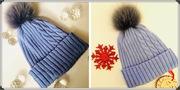 Вязанная шапка из шерсти с натуральным помпоном